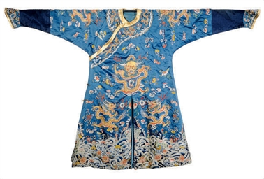 A CHINESE BLUE-GROUND SILK EMB