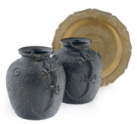A PAIR OF ASIAN BRONZE VASES A