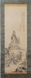 A JAPANESE SCROLL PAINTING OF
