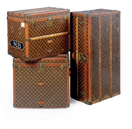 A LOUIS VUITTON TRUNK AND TWO TRAVEL BOXES,