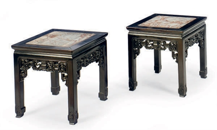 A PAIR OF HONGMU AND MARBLE IN
