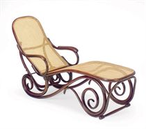 A VIENNESE BENTWOOD AND CANED CHAISE LONGUE,