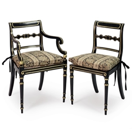 A SET OF TEN REGENCY EBONIZED