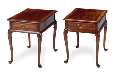 A PAIR OF MAHOGANY SIDE TABLES