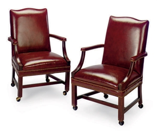 A SET OF FOUR MAHOGANY AND BUR