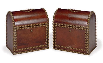 A PAIR OF LEATHER DEED CHESTS,