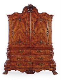 A DUTCH BURR WALNUT CABINET,