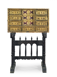 A SPANISH WALNUT, PARCEL-GILT,