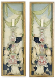 A PAIR OF FRAMED POLYCHROME-PA