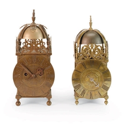 TWO ENGLISH BRASS LANTERN CLOC