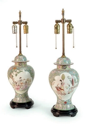 A PAIR OF CHINESE ENAMELED BLU