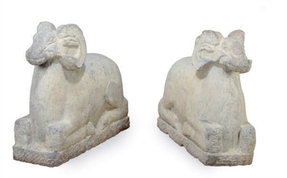 A PAIR OF STONE FIGURES OF RAM