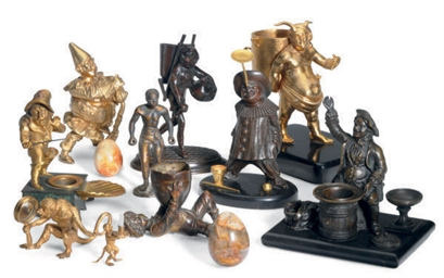 A GROUP OF TEN PATINATED AND G