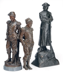 THREE PATINATED BRONZE MILITAR
