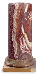 A ROUGE MARBLE PEDESTAL,