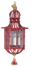 A RED-PAINTED FAUX BAMBOO HALL