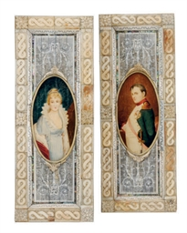 A PAIR OF IVORY FRAMED PANEL P