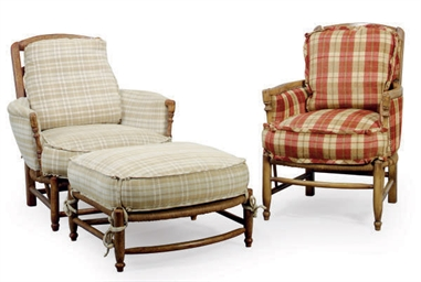 A PLAID UPHOLSTERED ARMCHAIR W