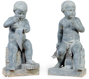 A PAIR OF LEAD FIGURAL GARDEN