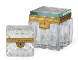 TWO GILT-METAL MOUNTED GLASS T