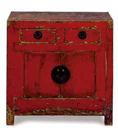 A CHINESE RED PAINTED CHEST
