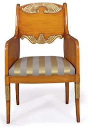 A MAHOGANY AND PARCEL-GILT BER