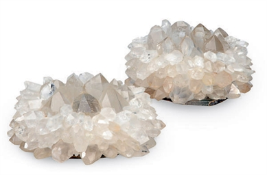 A PAIR OF ROCK CRYSTAL CANDLE
