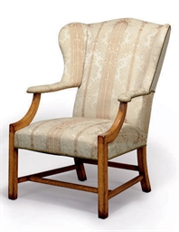 A FRUITWOOD AND DAMASK-UPHOLST