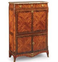 A LATE LOUIS XV ORMOLU-MOUNTED TULIPWOOD AND AMARANTH SECRETAIRE A ABATTANT,