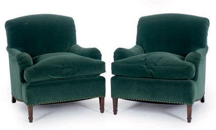 A PAIR OF GREEN VELVET UPHOLST