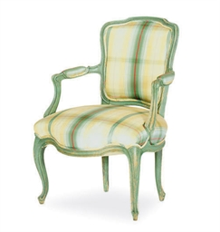 A GREEN-PAINTED FAUTEUIL,