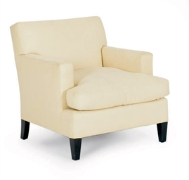 A BEIGE TWILL UPHOLSTERED ARMC