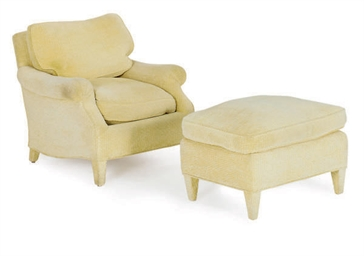 TWO GOLD CHENILLE UPHOLSTERED