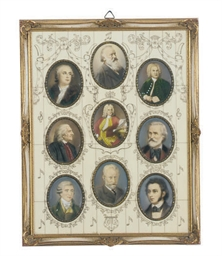 AN IVORY FRAMED SET OF NINE PO