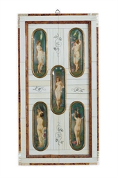 AN IVORY-FRAMED SET OF FIVE PO