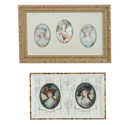TWO FRAMED SETS OF PORTRAIT MI