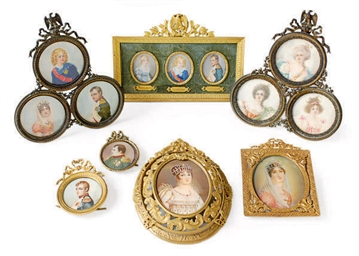 A GROUP OF GILT-METAL FRAMED P