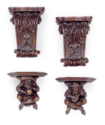 TWO PAIR OF CARVED WOOD FIGURA