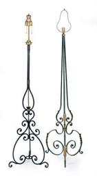 TWO METAL FLOOR LAMPS,