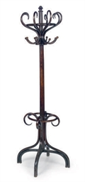 AN EBONIZED BENTWOOD COAT RACK