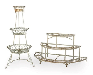 TWO WHITE-PAINTED METAL TIERED