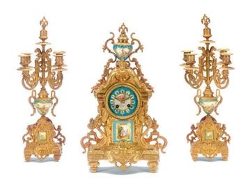 A FRENCH ORMOLU CLOCK GARNITUR