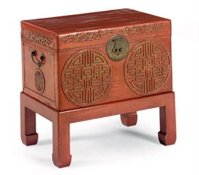 A JAPANESE RED LACQUERED CHEST