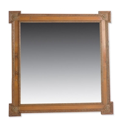 A STAINED PINE SQUARE MIRROR,