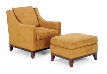 A BROWN SUEDE UPHOLSTERED CLUB
