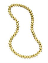 A GOLD BEAD NECKLACE, BY KIESELSTEIN-CORD