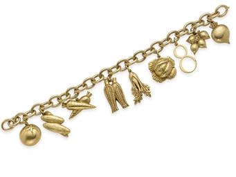 A GOLD CHARM BRACELET, BY CART