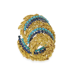 A SAPPHIRE, TURQUOISE AND GOLD