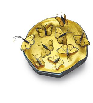 a gold and steel butterfly bowl by daniel brush On daniel brush jewelry