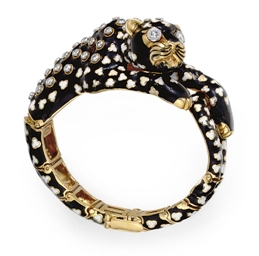 A DIAMOND AND ENAMEL LEOPARD B